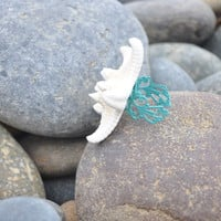 Starfish Ring lovely White Starfish on Aqua by ShepherdoftheSea