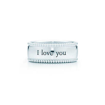 "Tiffany & Co. - Tiffany Yours ""I Love You"" ring in sterling silver."