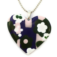Heart Pendant Purple Pink and Green Flowers by KireinaJewellery