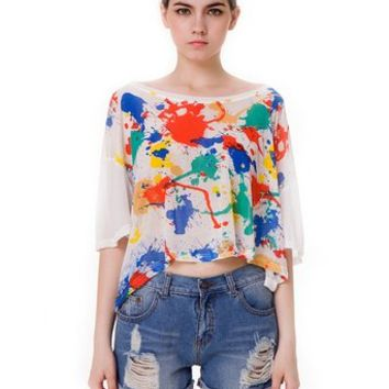 Women's Splash Inspiration Watercolor Painting Print Clear Cropped Top