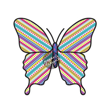 Striped Butterfly Decal - Colorful Car Decal Vinyl Bumper Sticker Laptop Decal Pink Blue Teal Purple Green