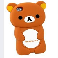 BYG Brown Cute Disney 3D Rilakkuma Demountable Hard Cover Case for iPhone 5 5g + Gift 1pcs Phone Radiation Protection Sticker
