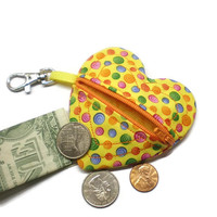 Kids coin purse, girls change purse, zipper coin purse, dots backpack tag, heart backpack tag, heart shape pouch, heart coin bag, yellow bag