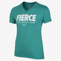 "Nike ""Fierce is My Middle Name"" Girls' T-Shirt - Turbo Green"