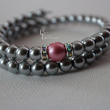 Silver and Pink glass pearls with rhinestone spacer wrap bracelet