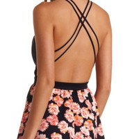 STRAPPY BACKLESS FLORAL PRINT SKATER DRESS