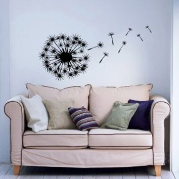 Blowing Away In The Wind Flower Dandelion Wall Decals Vinyl Sticker Home Interior Decor for Any Room…