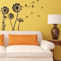 Flowering Dandelion Wall Vinyl Decals Sticker Home Interior Decor for Any Room Housewares Mural Design Graphic Bedroom Wall Decal (5518)