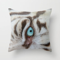EYE OF THE WHITE TIGER Throw Pillow by Catspaws | Society6