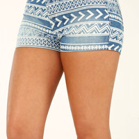 Travel The World With Me Shorts: Denim