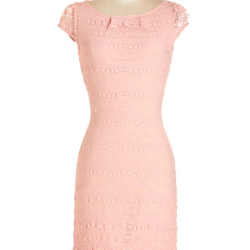 ModCloth Pastel Mid-length Cap Sleeves Sheath Lavishly Lovely Dress