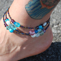 Beaded Anklet in Cool Colors  OOAK by chumaka on Etsy