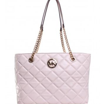 Michael Kors Fulton Quilted Large East West Tote in Vanilla