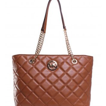Michael Kors Fulton Quilted Large East West Tote in Walnut