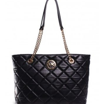 Michael Kors Fulton Quilted Large East West Tote in Black