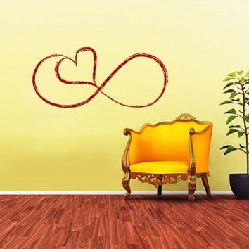Love Infinitely Logo Infinity Sign Heart Wall Vinyl Decals Sticker Home Interior Decor for Any Room Housewares Mural Design Graphic Bedroom Wall Decal (5811)