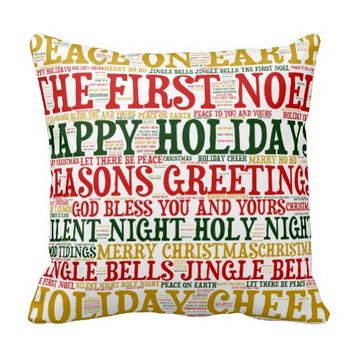 Christmas Word Cloud Pillow, Style 2