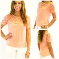 Gilded Petals Sheer Peach Lace Applique Top