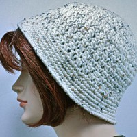 Crocheted Hat With Brim - Adult - Neutral Color | strawberryfields - Accessories on ArtFire
