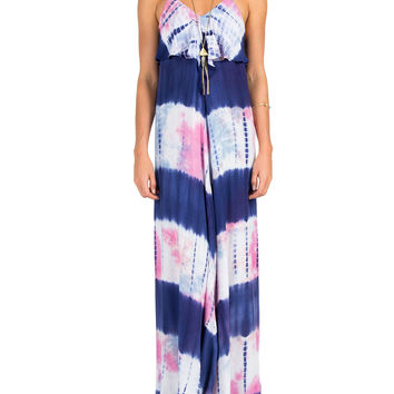 Tie Dye Ruffle Front Maxi Dress - Medium - Blue /