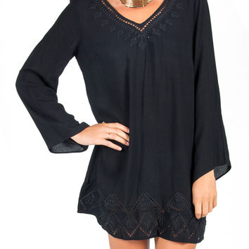 Lush Clothing - Embroidered Cut Outs Tunic Dress