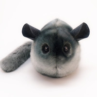 Smokey Dark Grey Chinchilla Stuffed Animal Plush Toy - 6x10 Inches Large Size