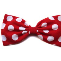 "Large Red Polka Dot ""Minnie Mouse Inspired"" Hair Bow- Rockabilly, Pin Up, Retro"