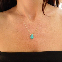 Tiny Teal Howlite Turquoise Teardrop Necklace by AnnalisJewelry