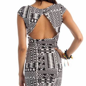 cap sleeve tribal print dress $19.00 in BLACK MAHOGANY TEAL - New Shoes | GoJane.com