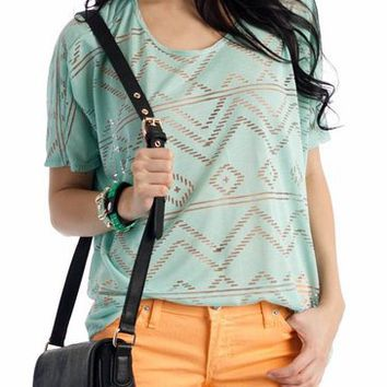 tribal cut-out tee $27.10 in CORAL MINT - New Shoes | GoJane.com
