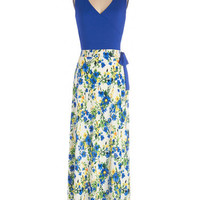 ModCloth Long Sleeveless Maxi Garden Blueprints Dress