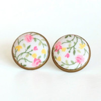 Floral Stud Earrings - Fresh Earring Studs - Pink Yellow and Green Flowers on White Shabby Chic Fabric Buttons Jewelry - Antique Posts
