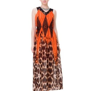 Zlyc Women's Lava Melted Sexy Leopard Print Maxi Dress with Contrast Crochet Overlay