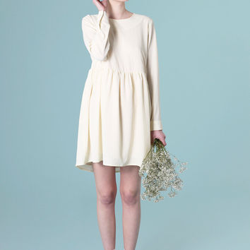 Back Button Smock Dress Cream - THE WHITEPEPPER