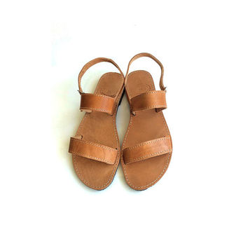Leather Sandals genuine with straps handmade traditional  greek style