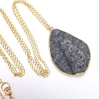 SALE 35% OFF Black Druzy Necklace Raw Stone Necklace Large Black Druzy Statement Necklace Druzy Crystal  Mineral Jewelry