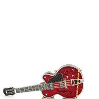 Judith Leiber Red Devil Guitar Clutch Encrusted With White, Black And Firey Red Crystals by Judith Leiber - Moda Operandi