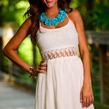 Lace Out Dress White