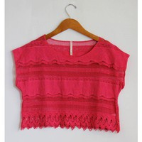 Raspberry Pink Crochet Crop Top