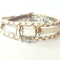 White Braided Leather Bracelet Set with Silver Accents