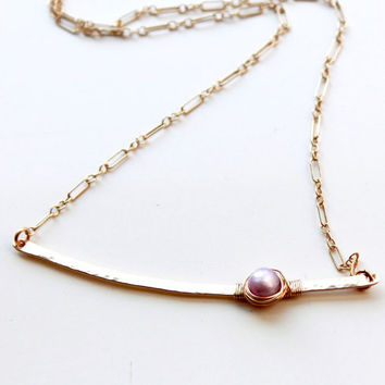 Minimalist style bar Necklace, Gold filled bar Necklace with Radiant Orchid Pearl, Gold Filled Necklace, Pearl and Gold, Summer Spring