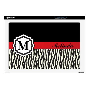 Monogram, Personalized Zebra Pattern Laptop Skin