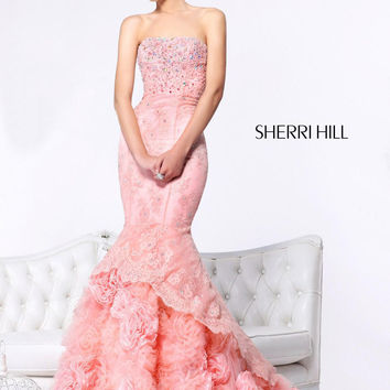Sherri Hill 21014 - Blush Strapless Lace Mermaid Prom Dresses Online