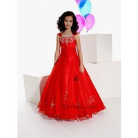 A-Line Scoop Floor-length Organza Flower Girl Dress FAL0084