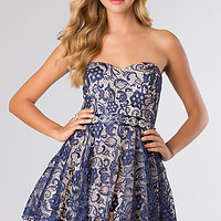 Short Strapless Lace Dress