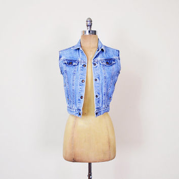 Levis Denim Vest Levis Jean Vest Levi's Jean Jacket Levi's Denim Jacket Cutoff Cut Off Crop Vest 90s Grunge Jacket Women XS Extra Small