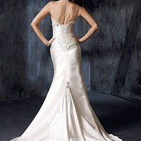 Buy A Charming Stretch Satin Beaded Wedding Dress