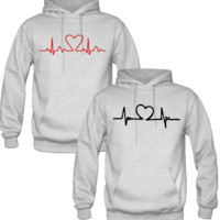 HEARD BEAT DESIGN LOVE COUPLE HOODIES - TeeeShop