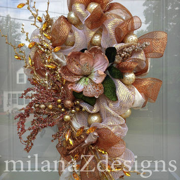 Deco Mesh Fall Wreaths, Champagne and Copper and  Pink Wreaths, Christmas Decorations, Ornament Wreaths, Winter Wedding, Winter Wonderland