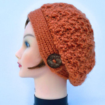 Women's Knit Hat - Pumpkin Tam With Button - Slouchy Beanie - Wool Chunky Beret - Fall / Winter Fashion - Knit Accessories - Headwear